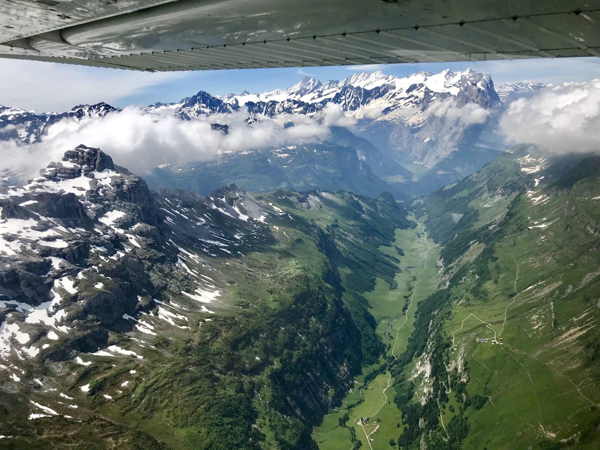 Flying over Engstlenalp looking towards Innertkirchen
